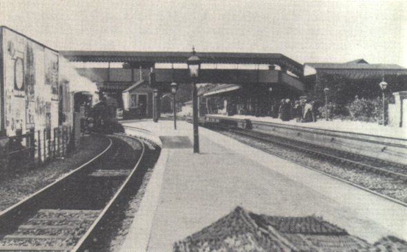 General view of Tiverton Junction, circa 1905, before quadrupling of track, showing No 1384 on a Culm Valley train
