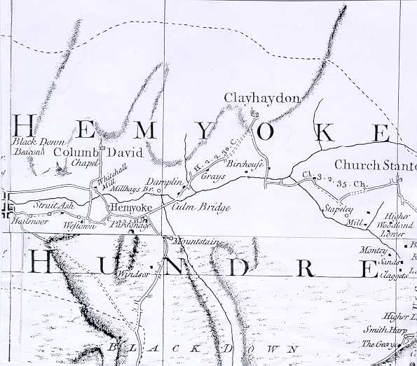 Map of the Hemyock area on Donn's one inch to the mile survey of 1765