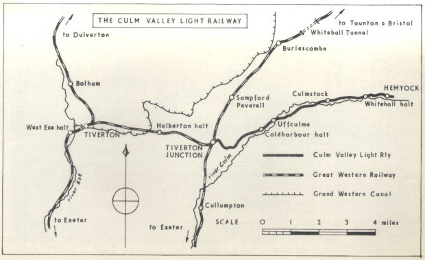 Map of the Culm Valley Light Railway
