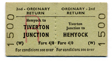 Return ticket issued at Tiverton Junction