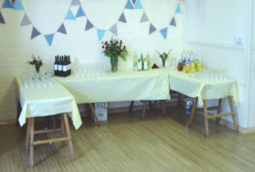 Alcove laid out for drinks
