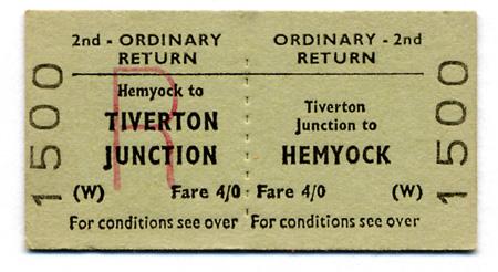 Return ticket issued at Tiverton Junction