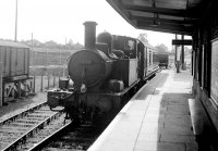 Tiverton Junction: 1451 at the branch line platform with the 1.40 to Hemyock, 07/09/1961, image © Robert Darlaston, www.robertdarlaston.co.uk