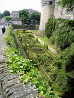 Formal gardens in the old moat at the chateau of Angers