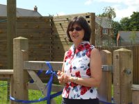 Jayne McLintock opens the Longmead Children's Play Area, achieved in part through fund-raising by the Pumpkins playgroup, of which she was Chairman.