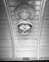 Gas lamp in the ceiling of carriage W268, built for the Barry Railway in South Wales about 1920. The carriage was one of two was retained for the Culm Valley line because of their short wheelbase and because train speeds were inadequate to charge batteries for electric light.  photograph take 04/09/1962  © Robert Darlaston, www.robertdarlaston.co.uk