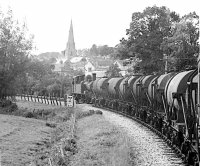 View from mixed train headed by 1466 en route to Tiverton Junction.  The train comprised seven milk tanks (which would be picked up at Tiverton Junction by a main line milk train bound for London) and one passenger/brake carriage.  Photograph taken 06/09/1963  © Robert Darlaston, www.robertdarlaston.co.uk
