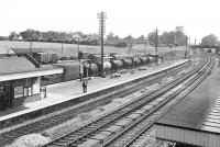 General view of Tiverton Junction station, looking south, with 1466 and its train after arrival at the branch platform.  Photograph taken 06/09/1963  © Robert Darlaston, www.robertdarlaston.co.uk