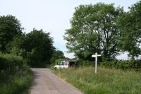 Angled crossroads, looking north. The road ahead leads to Bolham Water.  Image © Martin Bodman