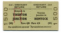 Return ticket issued at Tiverton Junction on 6th September 1963.  Fare 20p!  Image © Robert Darlaston, www.robertdarlaston.co.uk
